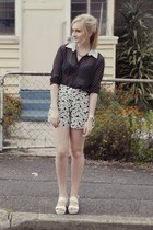 black Kmart blouse - light yellow River Island shorts - white Wittner flats