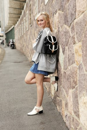 white Senso boots - blue asos dress - black new look bag