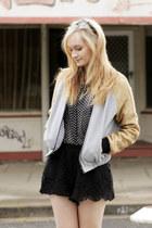 white Kmart blouse - gold cameo jacket - black sabo skirt shorts