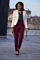 black polka dots H&M top - white grid Forever 21 blazer
