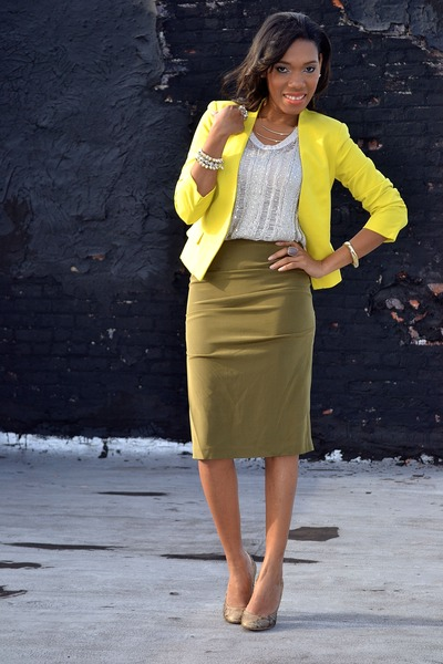 yellow blazer - tan shoes - olive green skirt - eggshell top