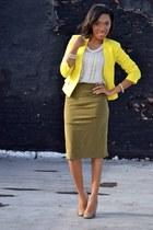 yellow blazer - tan shoes - olive green skirt - eggshell top