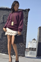 maroon chunky JCrew sweater - black pumps michael antonio shoes