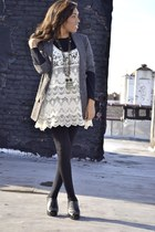 eggshell lace dress - black turtleneck sweater - brown cropped sleeves blazer