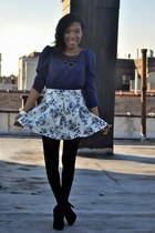 navy floral skirt - navy top