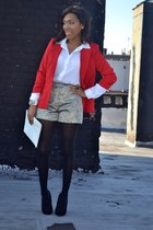 ruby red blazer - black shoes - off white shorts - white blouse