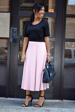 black crop BCBG sweater - pink flowy asos skirt