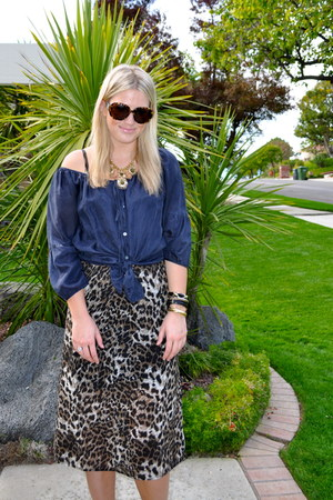 vintage dress - Anthropologie shirt - Chanel sunglasses - Jessica Simpson heels