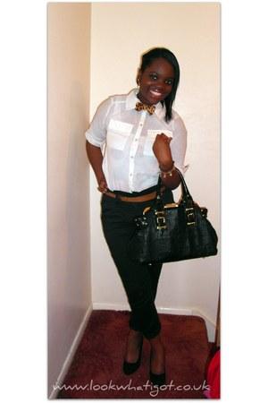 leopard print tie - bag - belted pants - blouse - wedges