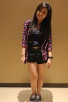 Forever 21 shorts - plaid polo Forever 21 blouse - Forever 21 top