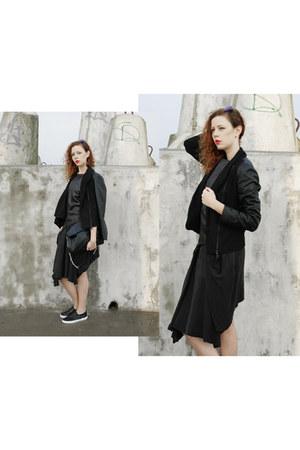 black Ebay jacket - black Parfois bag - black Promod top