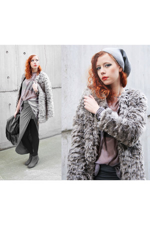 gray Cheap Monday boots - silver Choies coat - charcoal gray Zara bag
