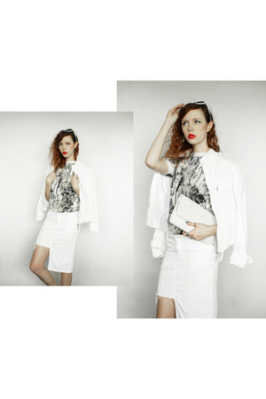 white vintage jacket - white vintage bag - white vintage skirt - white Zara top