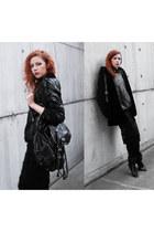 black Choies coat - black Front Row Shop sweater - black River Island bag
