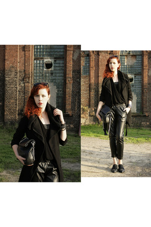 black Zara coat - black Parfois bag - black Zara pants - black Zara top