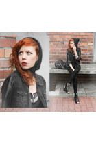 black H&M jeans - black H&M jacket - H&M bra - Nelly sandals