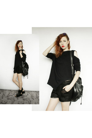 black River Island bag - black Nelly jumper - black Nelly sandals