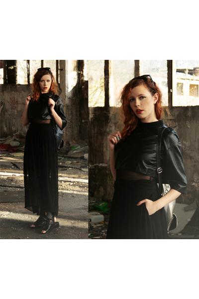 black Front Row Shop dress - black River Island bag - black H&M skirt