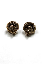 Vintage Chic LION HEAD Statement Style Earrings- gold