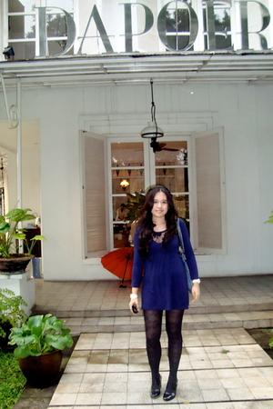 blue Anna Sui dress - blue Chanel purse - white Chanel accessories - black Dorot