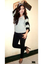 black Burberry jeans - gray silk self-made hat - knitwear BCBG sweater - Express