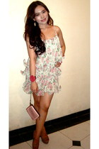 dress - pink studded bag Zara bag - Sergio Rossi heels
