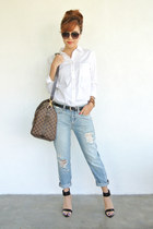 Gap jeans - Gap shirt - keepall ebene Louis Vuitton bag - zara heels Zara heels