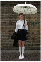 white shoes - white socks - black shirt - white blouse - blue accessories - blac