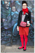red shirt - red leggings - silver top - black jacket - black shoes - red accesso