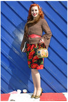 red skirt - green shoes - brown jacket - red belt - beige accessories
