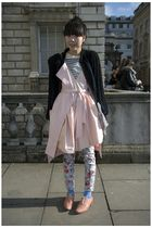 pink shoes - blue socks - blue pants - pink dress - white top - black jacket