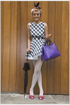 purple vivienne westwood shoes - purple accessories - black dress - white leggin