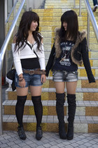 black shoes - black boots - blue denim shorts shorts - black over the knee socks