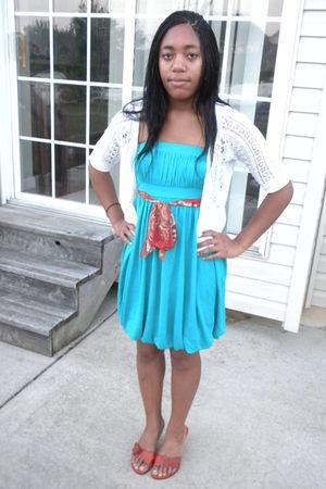 blue Forever 21 dress - white cardigan - orange scarf - orange shoes