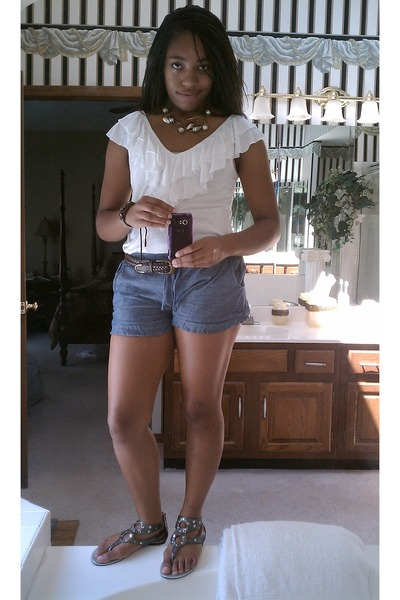 white Forever 21 blouse - blue Wet Seal shorts - silver Charlotte Russe - brown