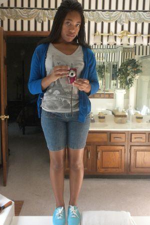 blue cardigan - gray Marshalls t-shirt - blue shorts - blue Keds shoes