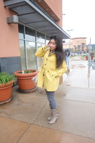 light yellow Forever 21 coat - beige boots - jeans