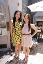 yellow floral print Forever 21 dress - chartreuse bow Forever 21 belt