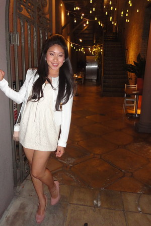 pink suede Lauren Conrad heels - eggshell floral lace H&M dress