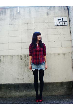 shirt - t-shirt - skirt - stockings - shoes