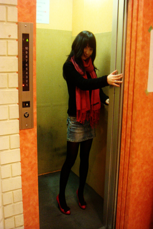 pink scarf - pink shoes - black jacket - blue skirt - black stockings