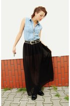 sky blue vest - black boots - black belt - black DIY skirt - silver necklace