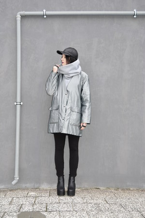 black flatform deezee boots - silver oversized second hand coat