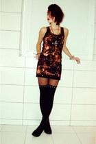 H&M dress - tights - jewellery flea market accessories