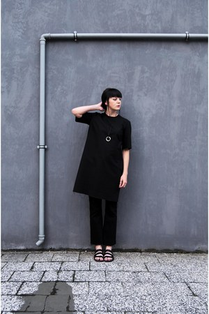 black raw edges self-made dress - black diy second hand pants