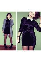 black velvet second hand dress - heather gray second hand Dorothy Perkins blazer