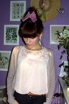 pink Bershka cardigan - pink H&M blouse - pink BIJU - brown c&a belt - blue Mang