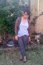 brown Wet Seal cardigan - gray papaya shirt - gray pants - brown Charlotte Russe