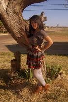gray Charlotte Russe shirt - orange Target skirt - gray Target stockings - brown
