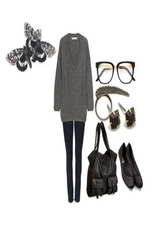 gray sweater - blue jeans - black shoes